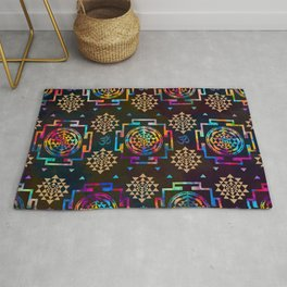 Sri Yantra  pattern - color and gold #2 Rug