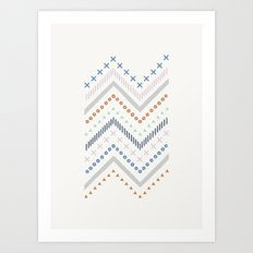 Mixed Zig Zag - in Cobalt Art Print