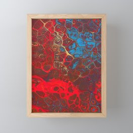 Vibrant Red, Blue and Gold Fluid Abstract Art - Fire Away Framed Mini Art Print