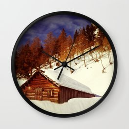 Ski Hut in the Alps Wall Clock