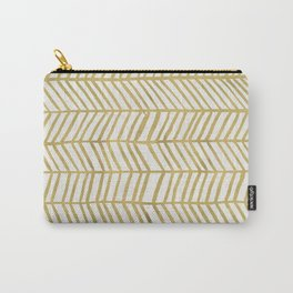 Gold Herringbone Carry-All Pouch