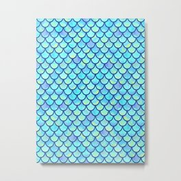 Blue Mermaid Scales Metal Print