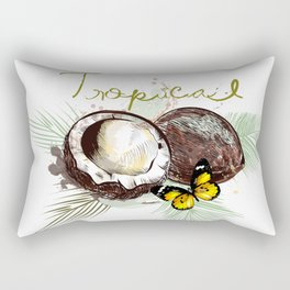 Tropical print with coconut Rectangular Pillow