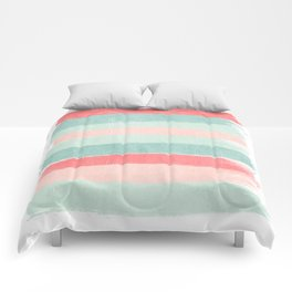 Stripes painted coral minimal mint teal bright southern charleston decor colors Comforters