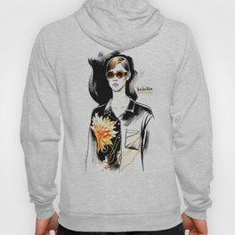 Fashion #9. А girl in sunglasses and a blouse with a floral design Hoody
