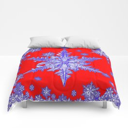 DECORATIVE PURPLE TINTED SNOWFLAKES ON RED Comforters