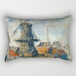 """Claude Monet """"The Windmill, Amsterdam"""", 1871 Rectangular Pillow"""