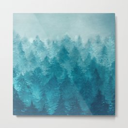 Misty Pine Forest 2 Metal Print