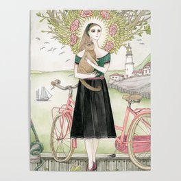 Girl and cat with pink bicycle Poster