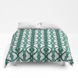 Watercolor Green Tile 1 Comforters