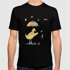 It's raining cats and dogs Mens Fitted Tee MEDIUM Black