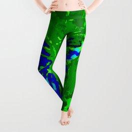 float like a butterfly (blue on green) Leggings