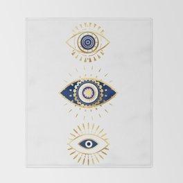 evil eye times 3 navy on white Throw Blanket