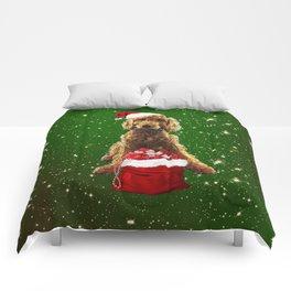 Christmas Dog Golden Doodle Comforters