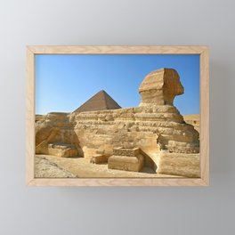 Great Sphinx & Khafre pyramid Framed Mini Art Print