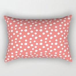 Coral White Large Random Polka Dots Pattern Rectangular Pillow