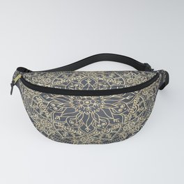 Elegant poinsettia flower and snowflakes mandala art Fanny Pack