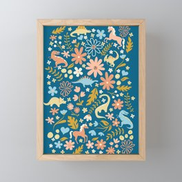 Dinosaurs + Unicorns in Blue + Coral Framed Mini Art Print