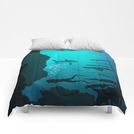 Beautiful coral reef and silhouettes of diver and school of fish in a blue sea Comforters