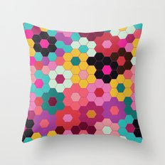 Honeycomb Blooms Throw Pillow