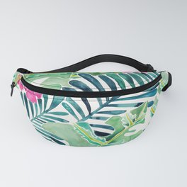 Lush Tropical Fronds & Hibiscus Fanny Pack