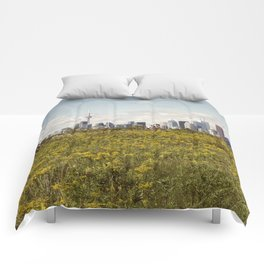 Wild yellow flowers decored Toronto skyline Comforters