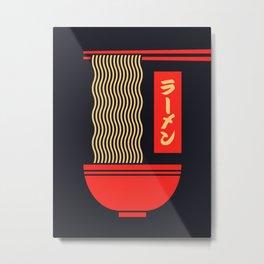 Ramen Japanese Food Noodle Bowl Chopsticks - Black Metal Print