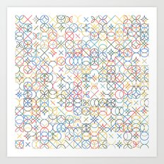 Colored Circle and Arc Grid  Art Print