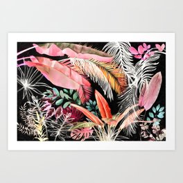 Tropical Foliage 05 Night Garden Art Print
