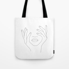 Minimal Line Art Woman with Hands on Face Tote Bag