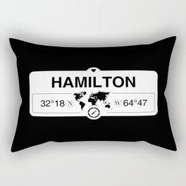 Hamilton Bermuda GPS Coordinates Map Artwork with Compass Rectangular Pillow