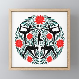 Yoga Girls Illustration with Lotus Flowers and Leaves // Red and Green Framed Mini Art Print