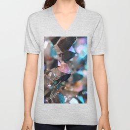 Turquoise & Violet Aura Crystals Unisex V-Neck