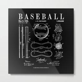 Baseball Bat And Ball Old Vintage Patent Drawing Print Metal Print