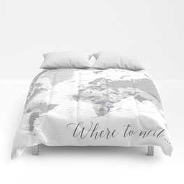 Where to next world map with cities in grayscale Comforters