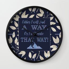 Abstract Silver leaves Navy Blue Inspiring Words Typography Wall Clock