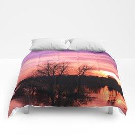 Pink Sky at Dusk Comforters