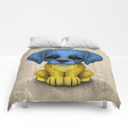 Cute Puppy Dog with flag of Ukraine Comforters