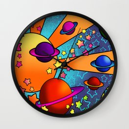 spacey groovy, peter max inspired Wall Clock