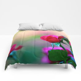 Red Rose Flowers Comforters