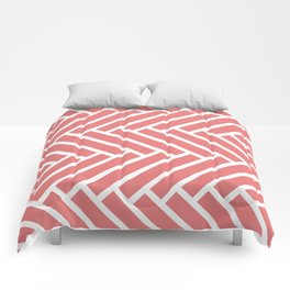 Coral and white herringbone pattern Comforters