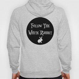 Follow the White Rabbit, circle, black Hoody