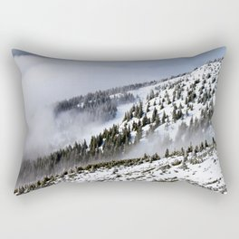 Pine Forest On The Side Of The Snow Covered Mountain Rectangular Pillow