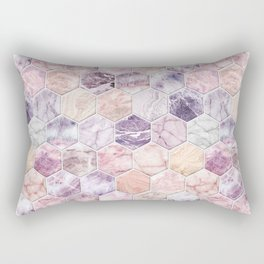 Rose Quartz and Amethyst Stone and Marble Hexagon Tiles Rectangular Pillow