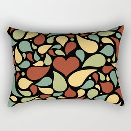 Heart surrounded by drops black pattern Rectangular Pillow