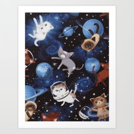 Cats on the Space Art Print