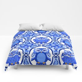 Delft Blue and White Owls and Flowers Comforters