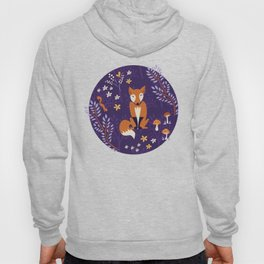 Foxes Playing in a Purple Forest Hoody