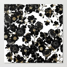 Modern Elegant Black White and Gold Floral Pattern Canvas Print
