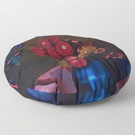 Butterflies and Red Poppy Flowers in Vase Still Life by Joseph Stella Floor Pillow